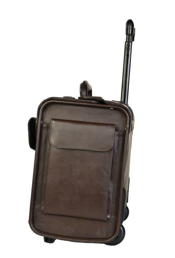 1340A Bruine rundlederen pilotenkoffer met trolleysysteem van Dermata lederwaren