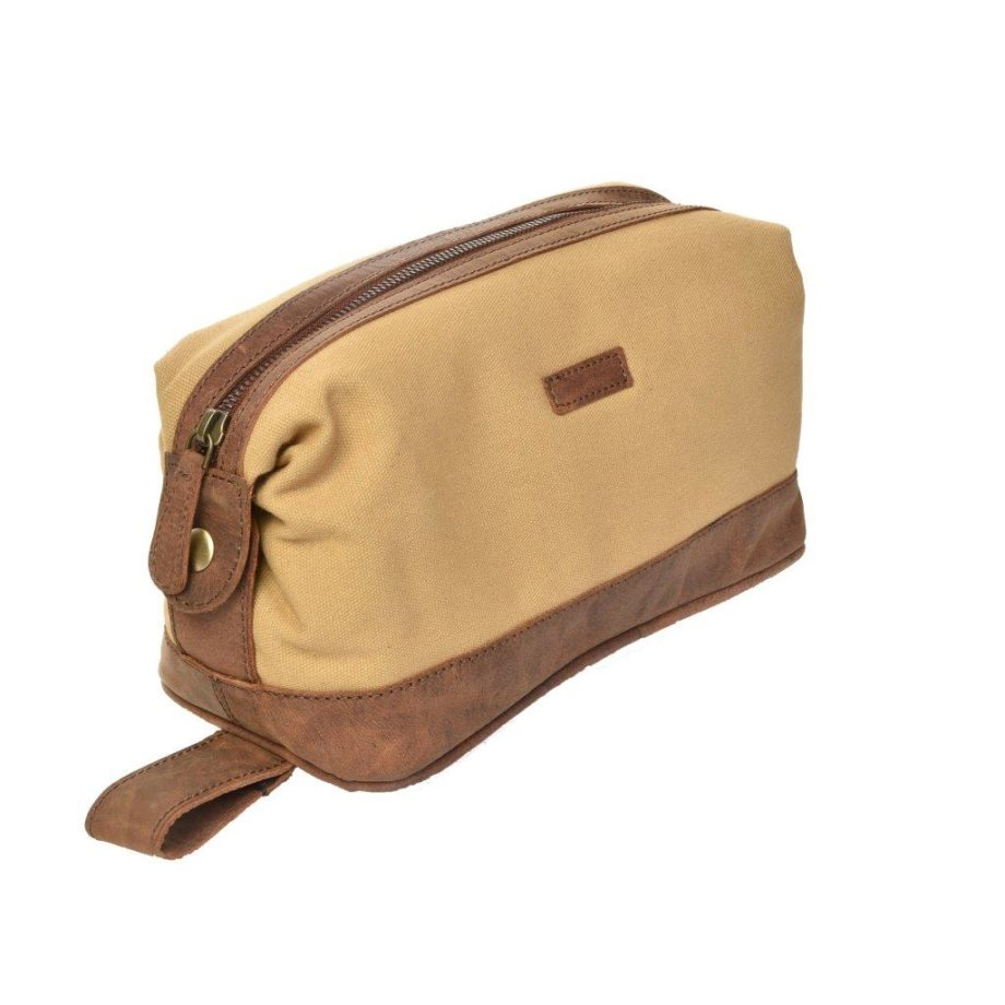 2846CV Dermata toilettas van canvas met leer sand/brown