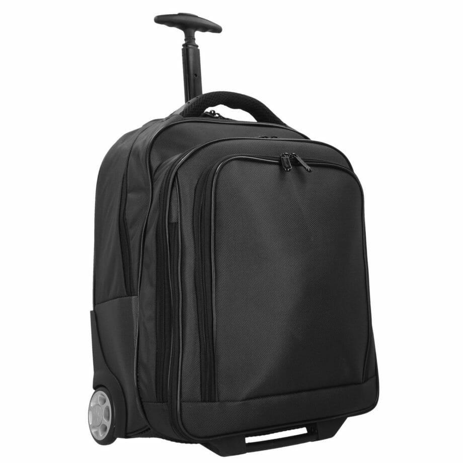 """3444NY ZW trolley/rugtas met 17"""" laptopvak nylon zwart Dermata lederwaren"""