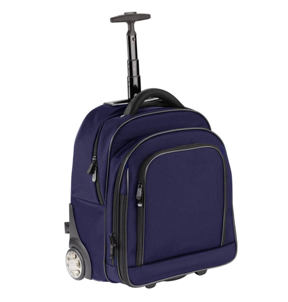"3444NY BL trolley/rugtas met 17"" laptopvak nylon blauw Dermata lederwaren"