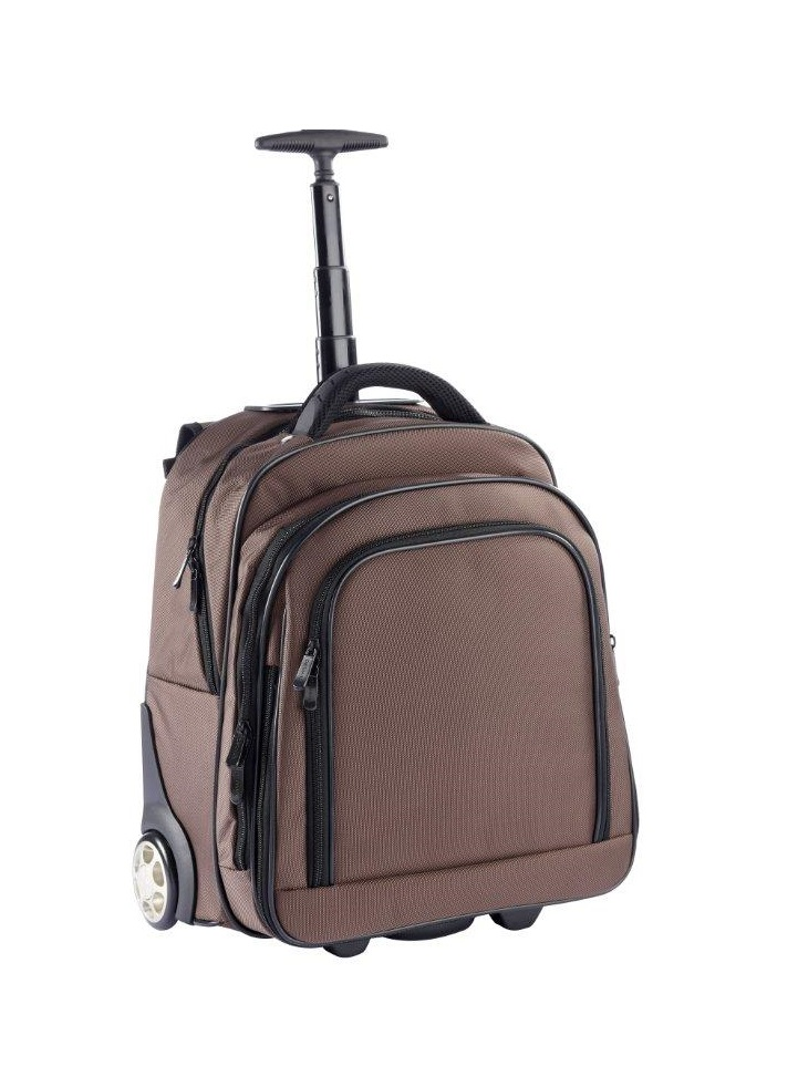 "3444NY BR trolley/rugtas met 17"" laptopvak nylon bruin Dermata lederwaren"