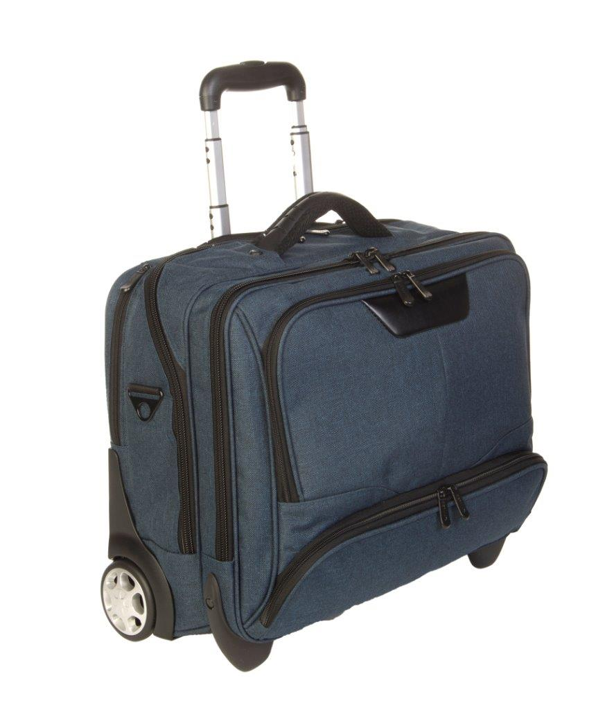 3456CV BL businesslaptoptrolley canvas blauw met zwarte binnenvoering Dermata Lederwaren