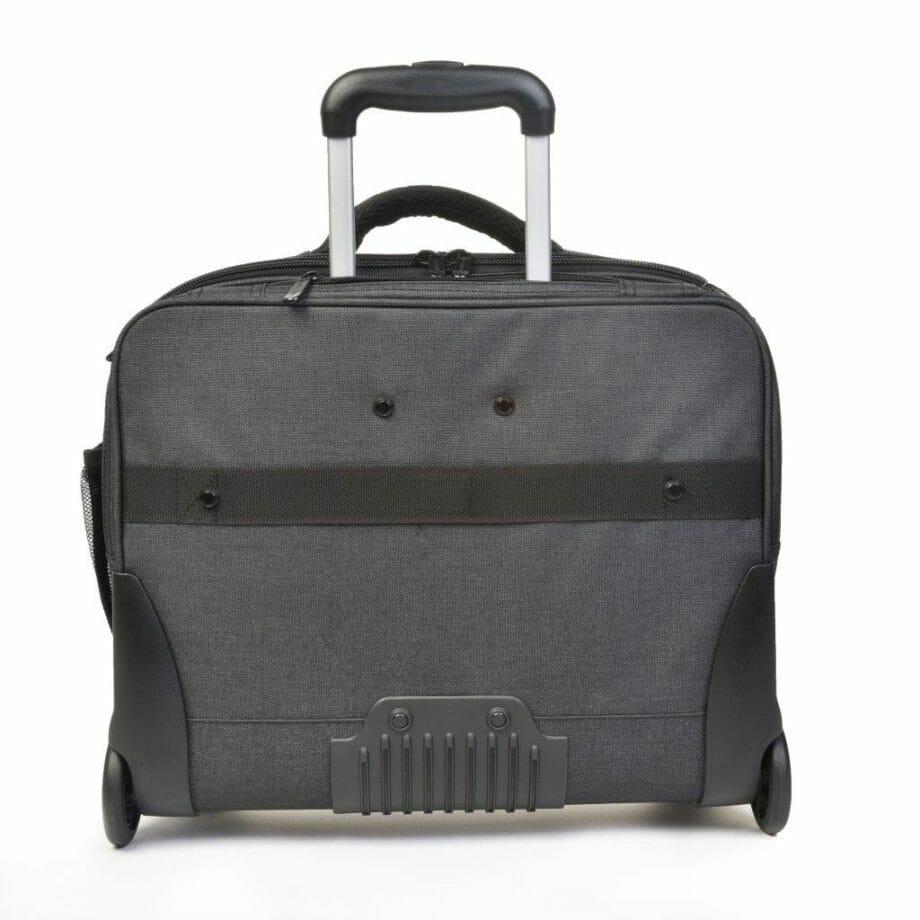 3456CV GS businesslaptoptrolley canvas grijs met zwarte binnenvoering Dermata Lederwaren