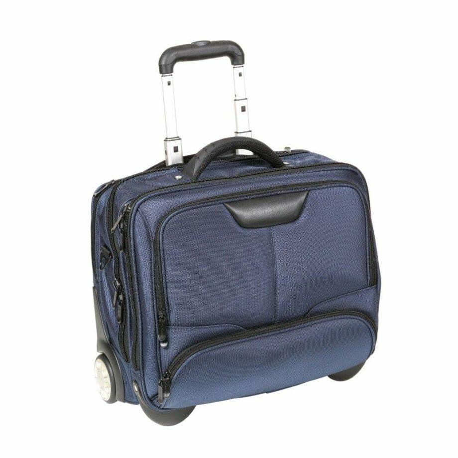 3456NY blauw businesslaptoptrolley nylon blauw Dermata lederwaren