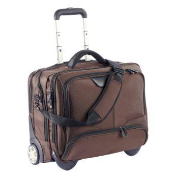 3456NY bruin businesslaptoptrolley nylon bruin Dermata lederwaren