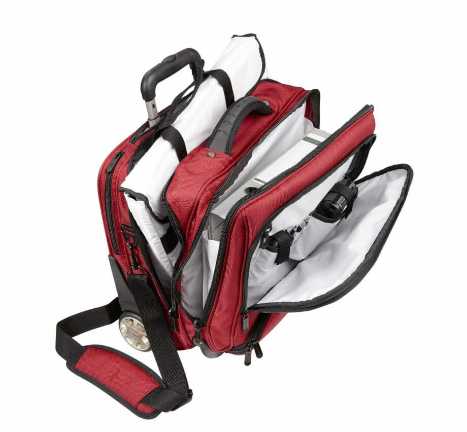 3456NY rd businesslaptoptrolley nylon rood met witte binnenvoering Dermata Lederwaren