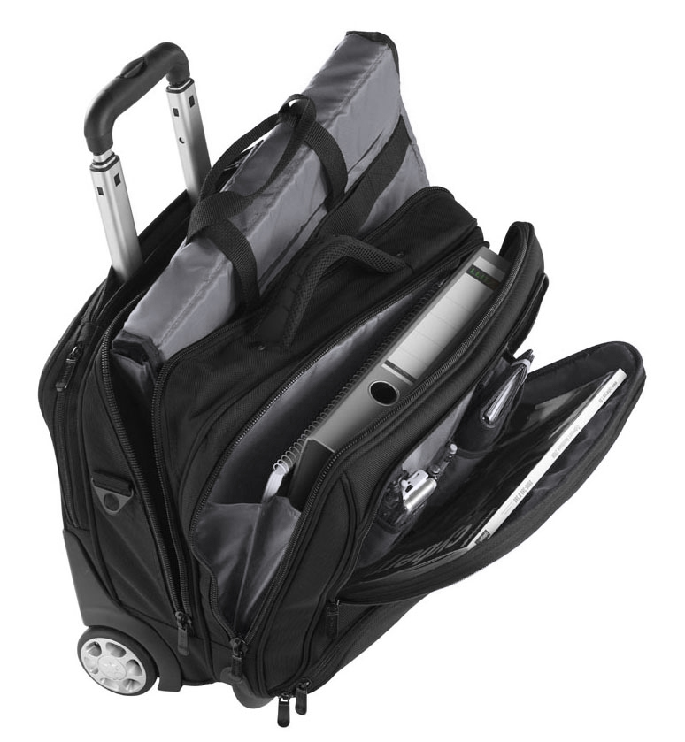 3456NY zw-gs businesslaptoptrolley nylon zwart met grijze binnenvoering Dermata Lederwaren