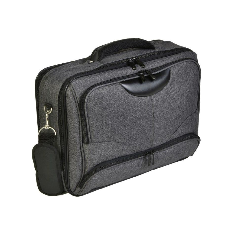 3459CV GR laptoptas canvas grijs Dermata Lederwaren