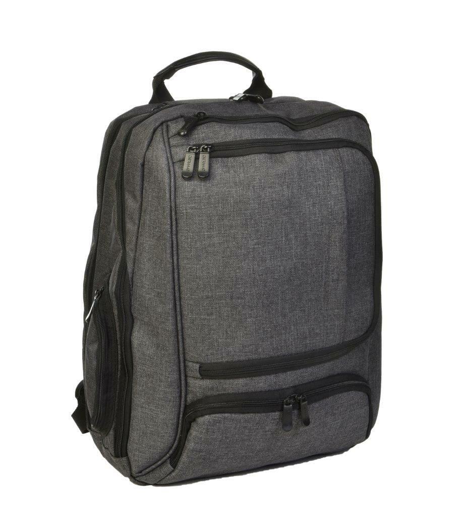 3489CR gr laptoprugtas grijs canvas van Dermata lederwaren