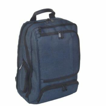 3489CV bl laptoprugtas blauw canvas van Dermata lederwaren