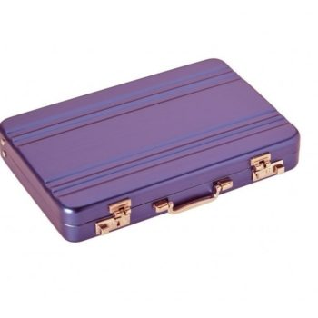 7308 visitekaarthouder mini attaché lila Dermata lederwaren